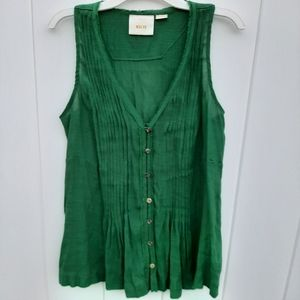 Maeve Anthropologie Green Pleated Tank
